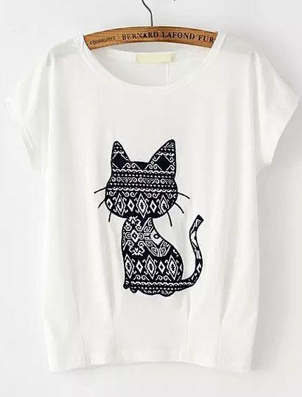 Cat Pattern Patch T-shirt ZK01
