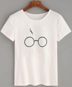 Glasses Lightning Print T-shirt ZK01
