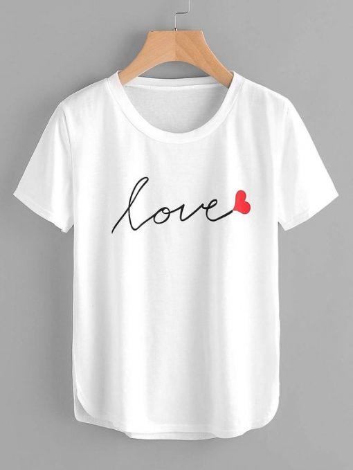 Letter Print Love Tee Shirt ZK01