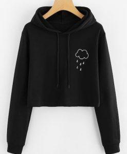 Rain Print Crop Hooded KH01