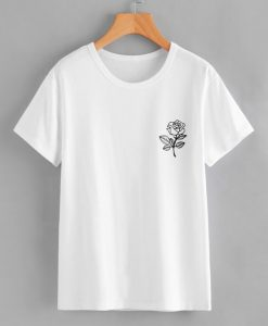 White Rose Print T-shirt KH01