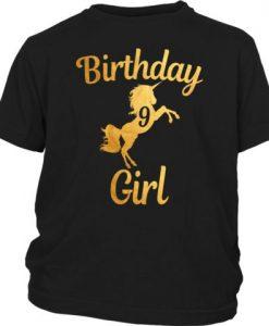 9th Birthday Girl Gold T-Shirt EL01