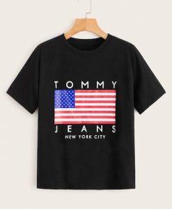 American Flag & Letter Print T-Shirt SR01