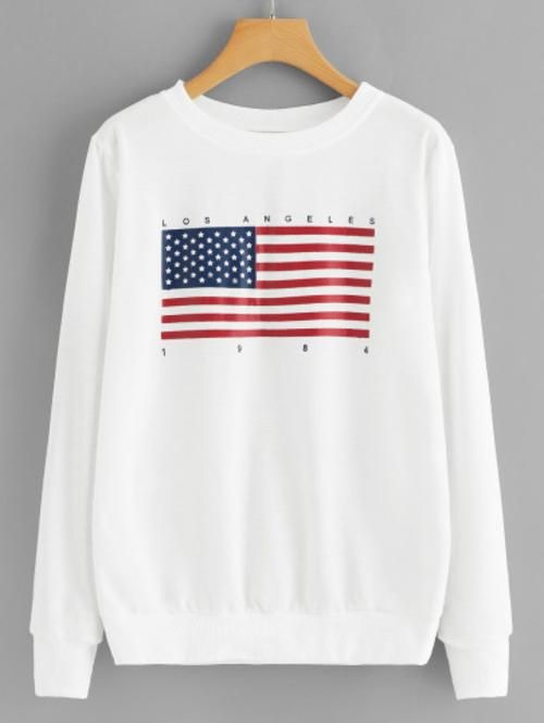 American Flag Print Sweatshirt SR01