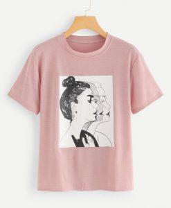 Women Figure Print Tee T-shirt FD01