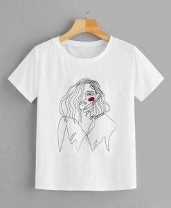 Abstract Figure Print Tee T-shirt FD01