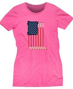 American Flag Hot Pink T-shirt ER