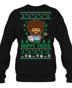Bob Ross Happy Trees Christmas Sweatshirt EL29