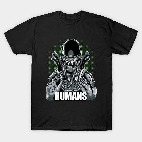 Humans Aliens Xenomorph T-Shirt VL23D