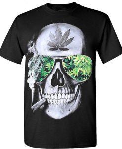 Wood Skull Marijuana T Shirt SR18D