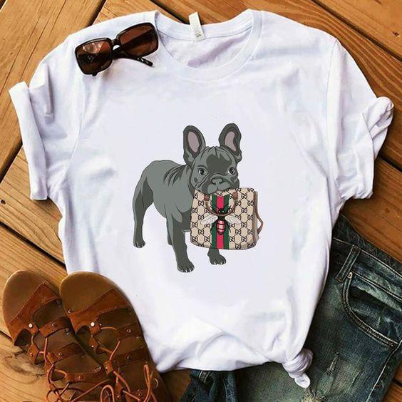 Bulldog Biting Bag Tshirt EL22J0