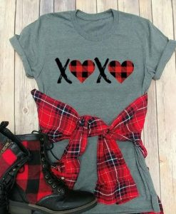 XOXO Plaid Valentine T-Shirt ND11J0