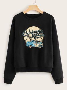 Car And Letter Print Sweatshirt LE19M0