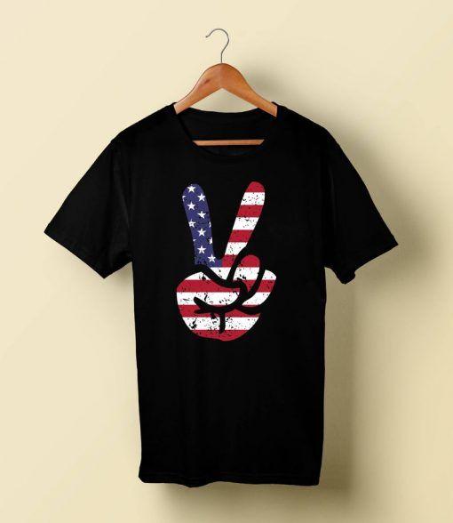 American Flag Peace Tshirt AS18A0